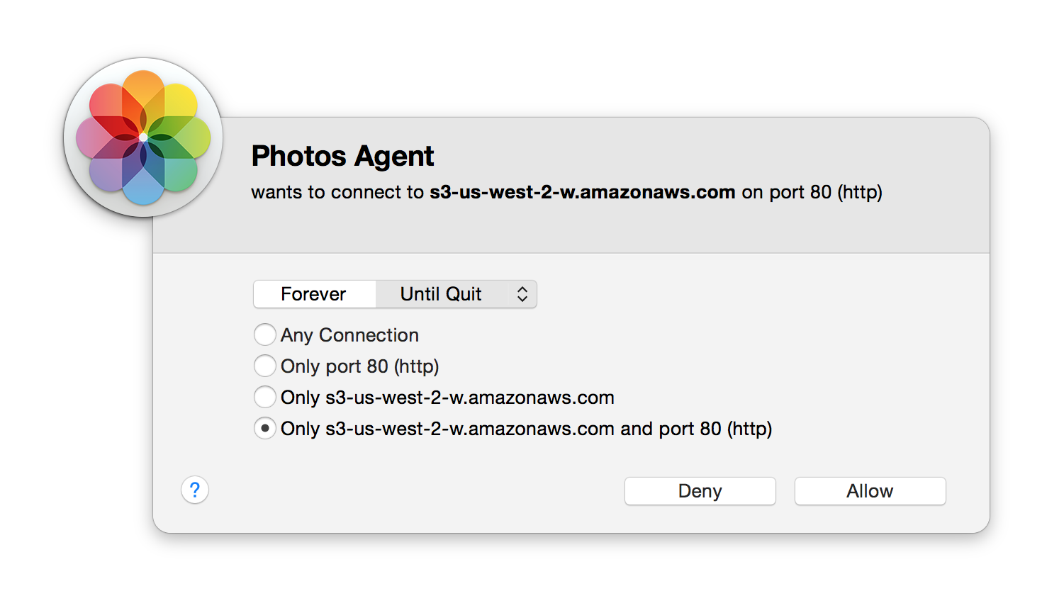 Apple Photos Agent using HTTP port 80